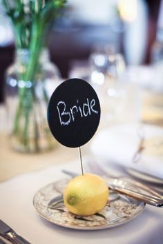 Lemon Wedding Table Number Card. If I ever get married, this will be my centerpiece. Because I'm simple. And like lemons.