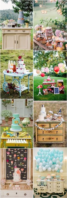 rustic wedding cake dispaly & cake dessert table decor ideas