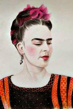 RFrida Kahlo, Retraro, lapices de colores.