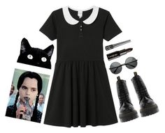 """""""Wednesday Addams"""" by indiia-raiin ❤ liked on Polyvore featuring Monki, Dr. Martens, Gorgeous Cosmetics and Victoria's Secret"""