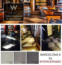Another Pattern used by W Hotels in New Orleans. Featuring our Barcelona II 3d Pattern, Tile Patterns, New Orleans Hotels, W Hotel, Barcelona, Restaurant, Flooring, My Favorite Things, Inspiration