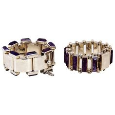 Vintage 1950's Antonio Pineda Sterling Silver and Amethyst Bracelets : On Antique Row - West Palm Beach