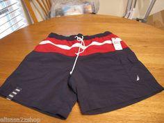 Men's swim trunks shorts Nautica surf M mesh inside navy red TC2106 CLR4NV NEW