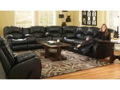 Design 2 Recline Living Room Tri-Reclining Sofa Power Option Available - Smith Village Home Furnishings - Jacobus (York) PA Grey Leather Sectional, Leather Reclining Sectional, Reclining Sofa, Black Sectional, Sectional Couches, Full Grain Leather Sofa, Sofa Design, Furniture Design, Furniture Ideas