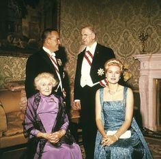 Princess Grace and Prince Rainier of Monaco were hosted by President Eamon de Valera and his wife, Sinead, at the presidential palace in Dublin on their state visit to Ireland, 1961.