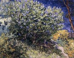 """""""Lilac Bush"""" -- 1889 -- Vincent van Gogh -- Dutch -- Created in Saint-Rémy, France -- Oil on canvas -- The State Hermitage Museum -- St. Petersburg, Russia"""