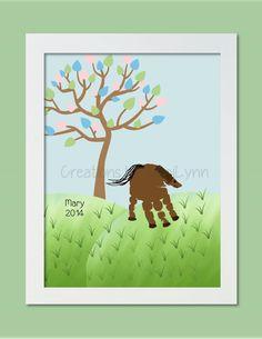 Horse Handprint Art Personalized Baby by CreationsbyTamiLynn, $20.00