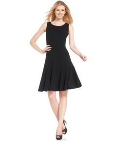 Calvin Klein Sleeveless Pleated A-Line Dress - Dresses - Women - Macy's