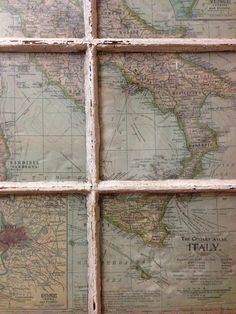 Map of Italy. Old Wooden Window. 24x28 inches. Jennifer & William Colditz.  on Etsy, $125.00