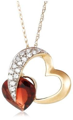 """10k Yellow Gold Diamond and Garnet Heart-Shaped Pendant, 18"""" Amazon Curated Collection, http://www.amazon.com/dp/B000TR35P6/ref=cm_sw_r_pi_dp_LU3Qqb0GXRT88"""