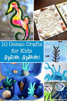 Cheap Summer Activities For Kids: These ocean crafts are adorable! Perfect for an Ocean Unit Study or just for fun. Ocean Activities, Summer Activities, Craft Activities, Preschool Crafts, Fun Crafts, Stick Crafts, Arts And Crafts For Teens, Art And Craft Videos, Crafts For Kids To Make