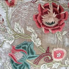 WEBSTA @ johnderiancompany - Embroidery detail from an Anke Drechsel silk velvet pillow
