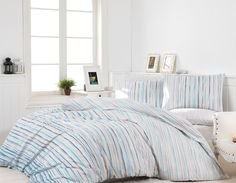 Dose Of Modern June - Blue Ranforce Single Quilt Cover Set - White Blue Double Quilt, Single Quilt, Pastel Decor, Quilt Cover Sets, Duvet Covers, Comforters, Quilts, Blanket, Bed