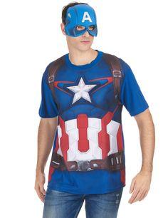 T-Shirt et masque adulte Captain America™ movie 2  : Ce déguisement pour adultes est sous licence officielle Captain America™. Il se compose d'un t-shirt et d'un masque (bouclier et pantalon non inclus).Le t-shirt reprend le...