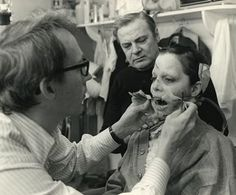The Exorcist. Nope, that's not Linda Blair. A few of the scenes of Regan as a full on demon were actually performed by Eileen Dietz. She also was the frightening face of the demon Pazuzu, which flashes subliminally on the screen throughout the film. This shot shows makeup FX legend Dick Smith affixing a tube to Dietz that allowed her to iconically spew split pea soup all over the set and her fellow actors.