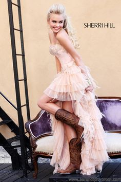Sherri Hill 21084 prom dress. So precious with the cowgirl boots .... Of course the perfect Rom.dress comes up. The day after.prom