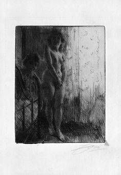 """Artwork by Anders Zorn, """"Dark Corner"""", Made of Etching Figure Painting, Figure Drawing, Painting & Drawing, Vintage Artwork, Life Drawing, Crayon, Art Plastique, Figurative Art, Les Oeuvres"""