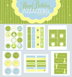 free birthday printables {place cards, gift tags, drink flags, labels and party circles} from love th day for pizzazzerie