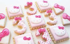 Hello Kitty Baby Shower, Hello Kitty Theme Party, Hello Kitty Themes, Hello Kitty Birthday, Kitty Party, Torta Hello Kitty, Hello Kitty Cookies, Kawaii Cookies, Cat Cookies