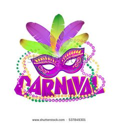 Bright vector carnival icons mask and sign.