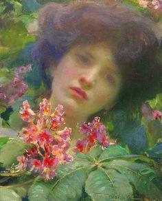 ⊰ Posing with Posies ⊱ paintings of women and flowers - Franz Dvorak | Honeysuckle