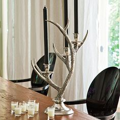 South Shore Decorating Blog: Thanksgiving Table Setting Ideas antler candleabra's...Ralph Lauren's?