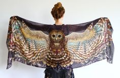Shovava is an iconic Australian Etsy store with amazing art scarves and clothing. Owl Wings Scarf Wrap Silk Scarf Wearable Art Owl Shawl by Shovava Moda Australiana, Owl Scarf, Tube Top, Owl Wings, Angel Wings, Dress Plus Size, Sarongs, Feather Print, Feather Scarf