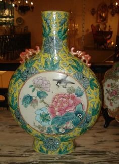 Antique Chinese Export Porcelain Moon Vase