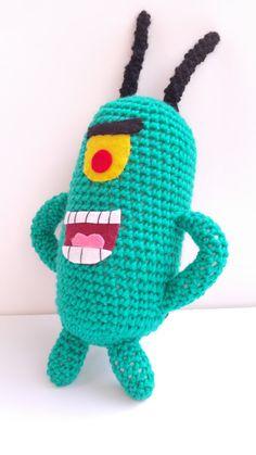 Crochet Doll Pattern, Crochet Dolls, Crochet Baby, Crochet Patterns, Kawaii Plush, Retro Cartoons, Green Monsters, Funny Toys, Knitted Animals