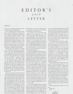 """""""This is the stuff I love. At heart, I'm a fan too."""" One of my favorite letters from the editor. Katie Grand of POP's last word."""