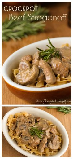 Crockpot Beef Stroganoff | DizzyBusyandHungry - Tender beef and savory mushrooms in a creamy, tangy sauce. This classic comfort food is a family favorite!
