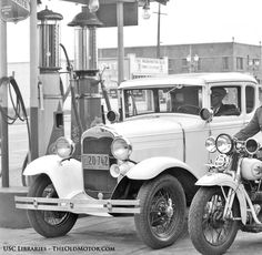 1930 The Venice Police Fill up with Purr-Pull Gasoline in Los Angeles | The Old Motor