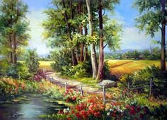 Solve romantic country road painting jigsaw puzzle online with 117 pieces Scenery Paintings, Cross Paintings, Road Painting, Painting & Drawing, Landscape Art, Landscape Paintings, Cross Stitch Art, Country Landscaping, Polychromos