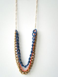 Neon Multichain Necklace Neon Chain Necklace Rubber by MoeDot