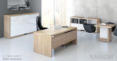Biurka gabinetowe Lineart w połączeniu z efektownymi komodami nie tylko wyposażają ale i dekorują pomieszczenie menadżerskie.