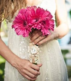 Bridal Bouquets and Wedding Flowers: Pink bouquet with gerbera daisies