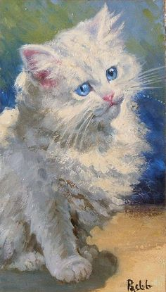 Minnie Rosa Bebb (Inglaterra, 1857-1938).  White kitten with bright blue eyes