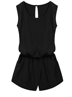 OURS Women Round Neck Sleeveless Cut Out Back Pockets Casual Romper Jumpsuit - http://darrenblogs.com/2016/03/ours-women-round-neck-sleeveless-cut-out-back-pockets-casual-romper-jumpsuit/