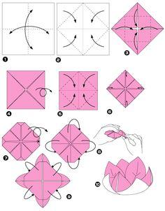 tuto pour réaliser une fleur de lotus en papier origami si le dessin du pliage ne vous semble pas très claire : j'ai trouvé cette vidéo youtube: parfaite: https://www.youtube.com/watch?v=7YOK8JZH-9Q
