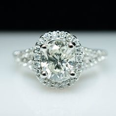 Vintage Natural 1.29ct Oval Diamond Engagement Ring in Platinum - Free Sizing