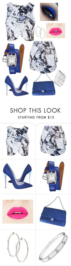"""""""Blue Belle"""" by dafina-blueeyes-nugent on Polyvore featuring Topshop, Christian Louboutin, Hermès, Chanel, Lynn Ban and Cartier"""