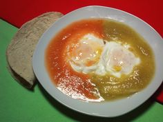Breakfast - eggs one in a Mexican red sauce and green tomatillo sauce (Huevos Divorciados)