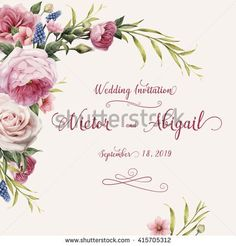 Greeting card with roses, watercolor, can be used as invitation card for wedding, birthday and other holiday and  summer background. Vector…