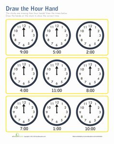 First Grade Time Worksheets: Hour Hand