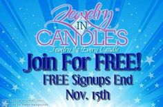 Don't wait on this opportunity!! Join FREE now! JewelryInCandles is a great company & being part of my team will just make you that much more AWESOME! :) www.jewelryincandles.com/store/andrealynn
