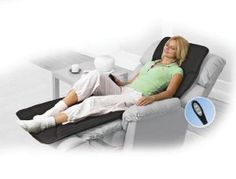 Five motors inside a padded mat, choose different combinations of speeds with the hand-held controller.Manual controller, variable 2 speed intensity and personalized zone control. Massage Bed, Massage Techniques, Sensory Toys, Back Pain, Kids And Parenting, Full Body, Bean Bag Chair, Traveling By Yourself, Toddler Bed