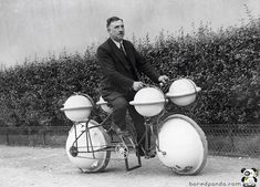 Amphibious Bike 'Cyclomer' (Paris, 1932) ~ a bicycle on land and water can ride with a load of 120 pounds.