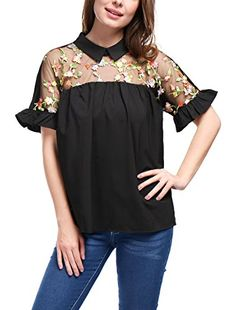 1601b7d2d Allegra K Women's Sheer Yoke Floral Embroidery Collared B... https://