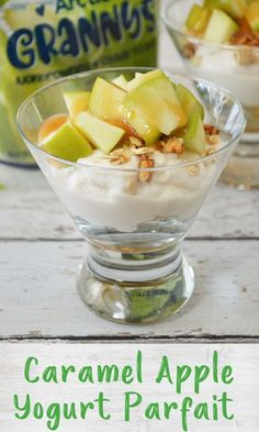 These simple caramel apple parfaits need only 4 ingredients and are perfect for a healthy snack or breakfast that kids can easily assemble themselves!