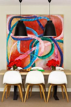 Room Decoration Ideas with Oversized Art Interior Design Rooms Ideas, Large Scale Art, Large Art, Deco Addict, Dining Room Design, Dining Rooms, Dining Area, Design Room, Dining Tables